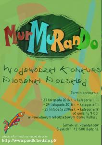 "Plakat inform,ujący o konkursie ""MurMuRanDo 2016"""